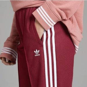 Burgundy Wide Leg Adidas Pants